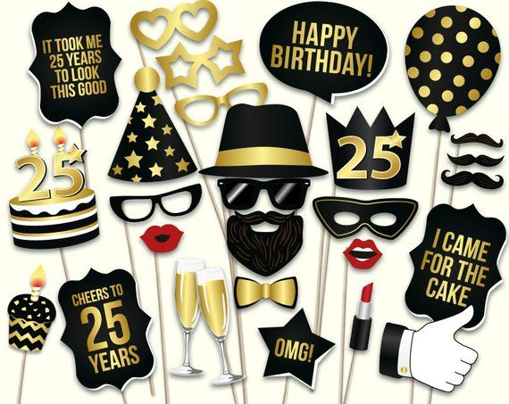 25th Birthday Photo Booth Props Printable PDF Black And Gold Twenty Fifth Party Supplies
