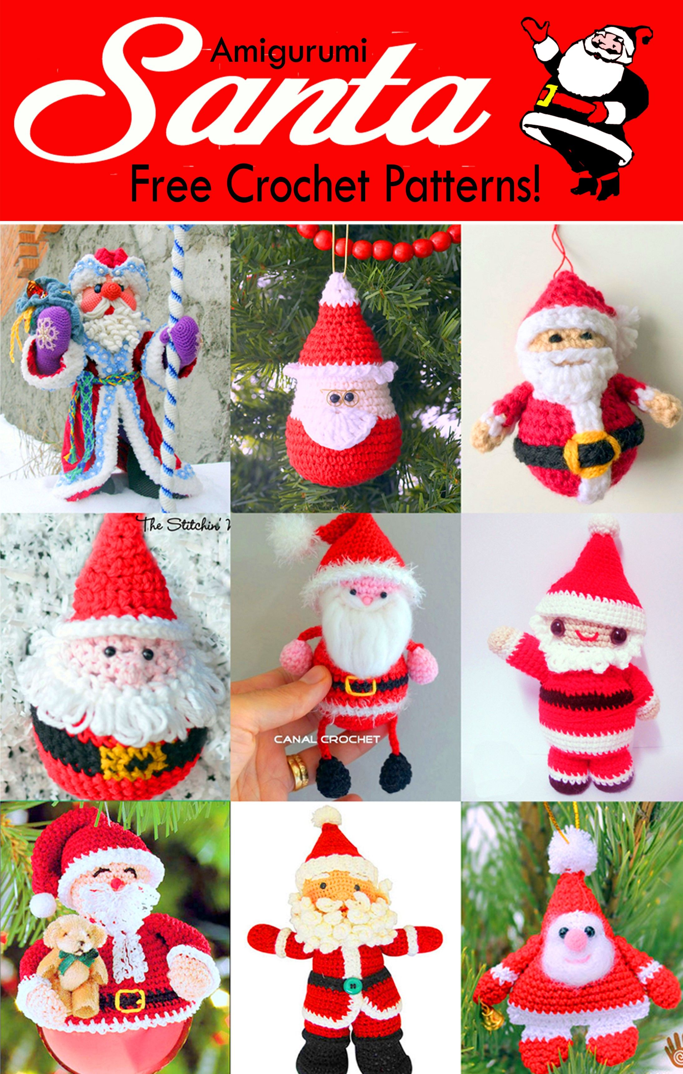 19 Free Amigurumi Christmas Santa Crochet Patterns Crochet Christmas Decorations Christmas Crochet Christmas Crochet Patterns