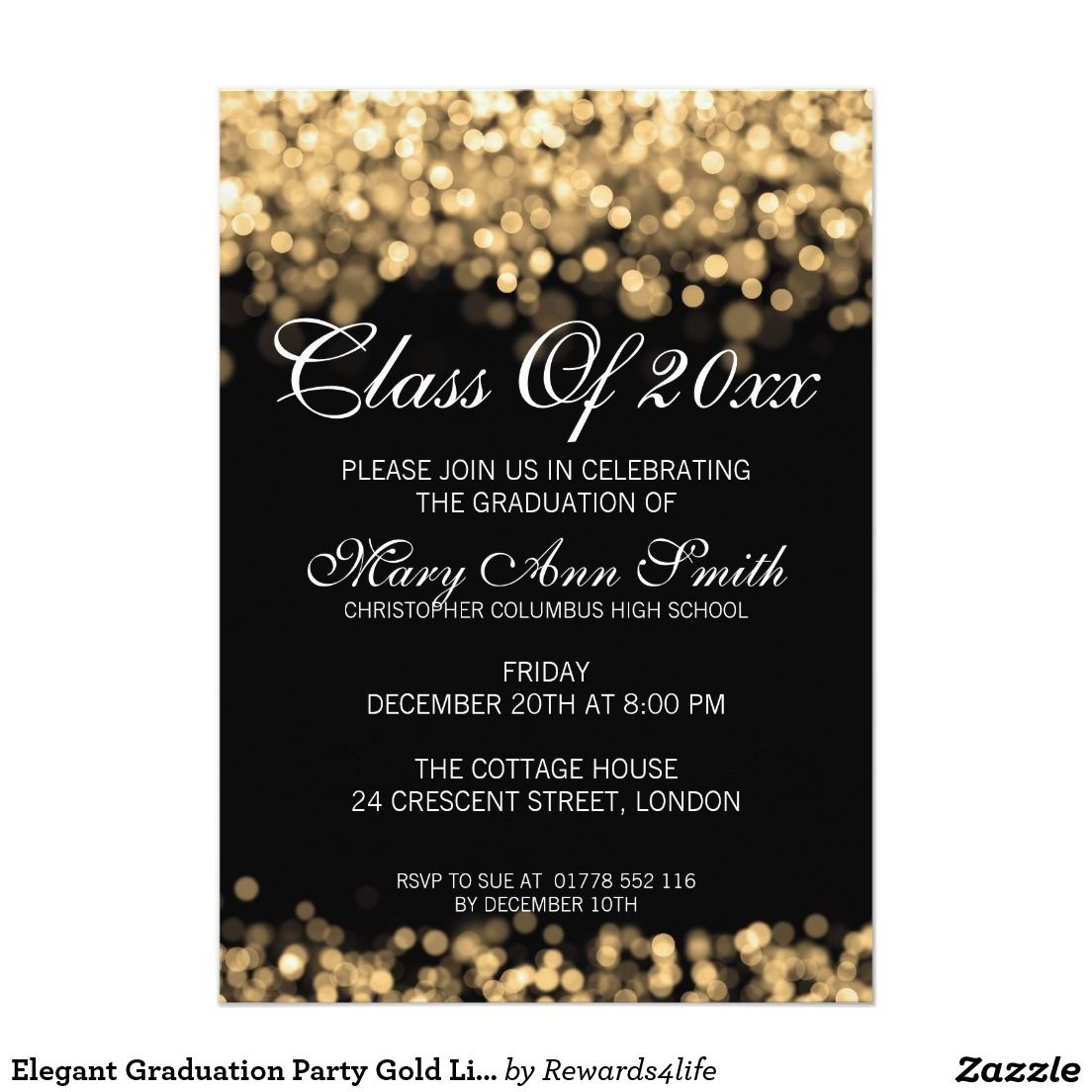 Create Invitation Template: Elegant Graduation Party Gold Lights Card