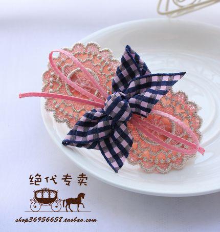 清新气质~出口韩国发饰格子蕾丝蝴蝶结发夹 顶夹 边夹-淘宝网