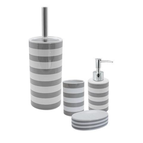 Harbour Housewares Ceramic Bathroom Pump Soap Dispenser Grey