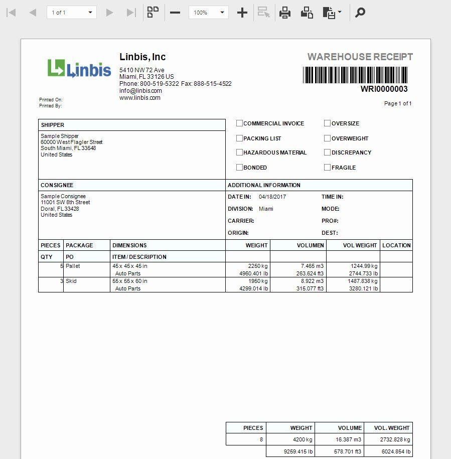 Make A Receipt Template Awesome How To Create A Warehouse Receipt On Linbis Logistics Receipt Template Templates Invoice Template