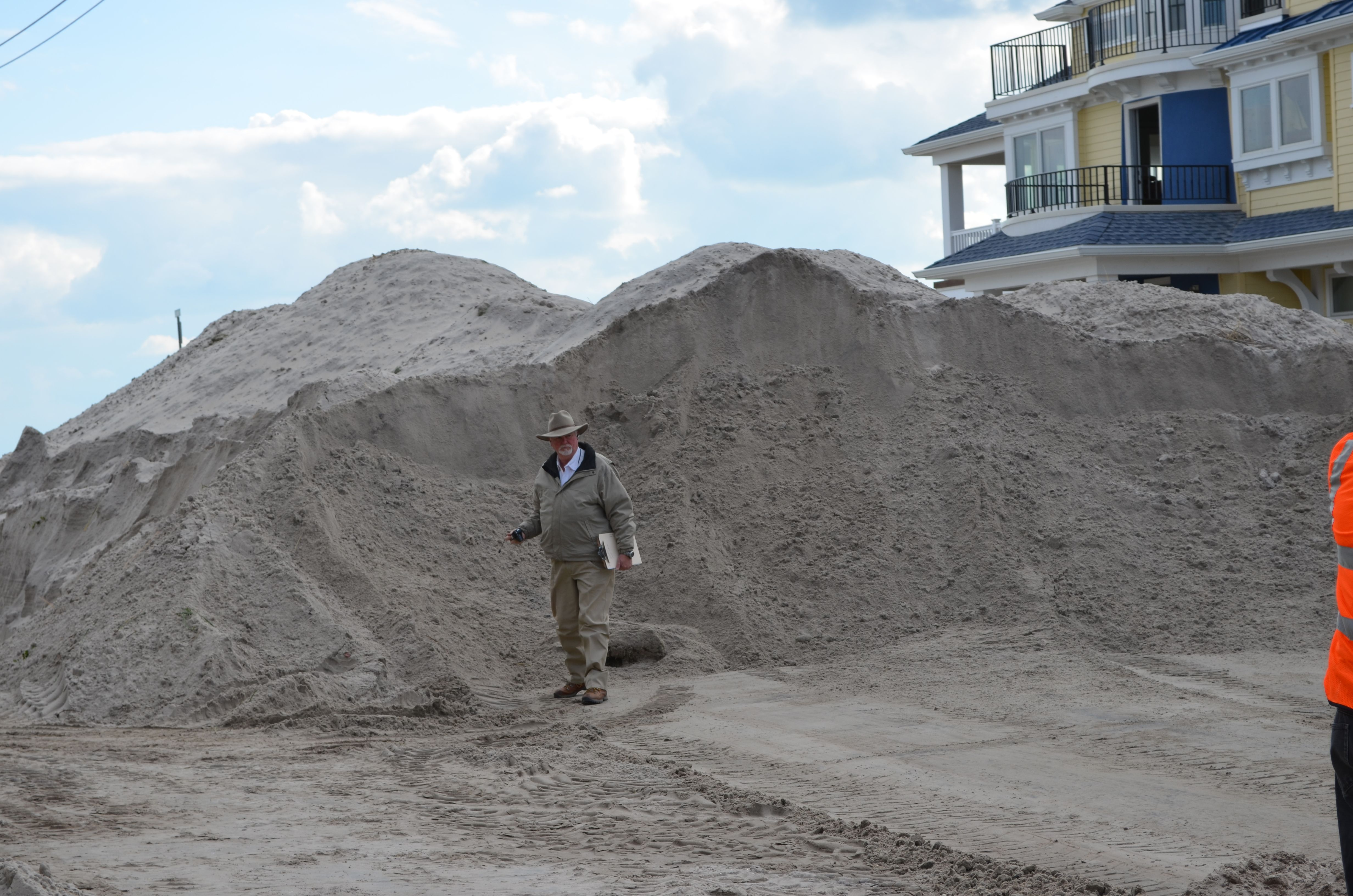 Sandy was very Sandy in OCNJ.  Mound of sand pile the streets as heavy construction equipment is being utilized to move the sand and build temporary barriers from future storms.