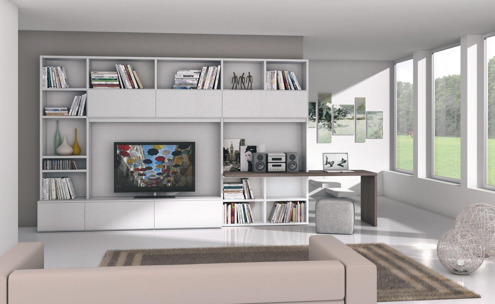 Parete attrezzata salotto tv pinterest bureau et salon for Salotto parete attrezzata