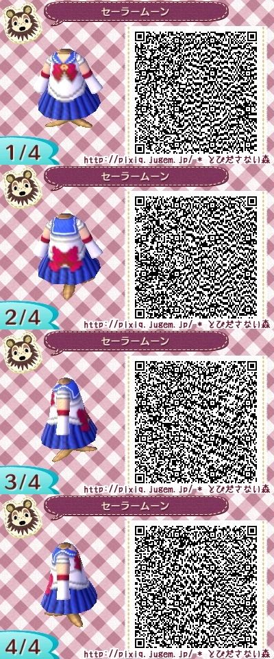 Sailor Moon Animal Crossing New Leaf Qr Code Acnl Qr Codes