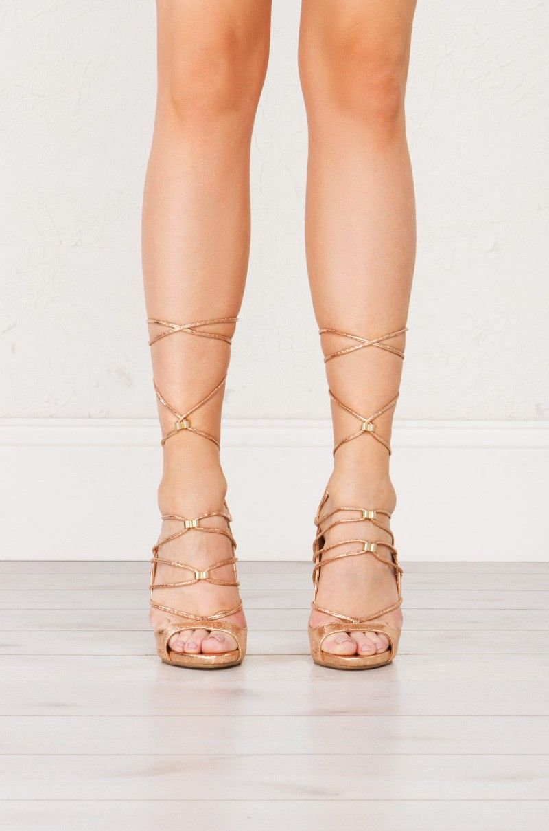 1f77f85f40b9 front view Strappy Heeled Sandals in Rose Gold
