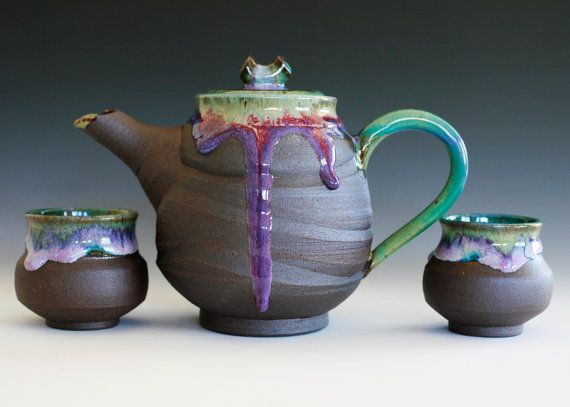 Handmade Ceramic Tea Set By Ocpottery On Etsy Ceramic Tea Set Tea Pots Handmade Ceramics