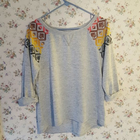 Cute and Comfy sweater Soft material.  Great condition.  NWOT.  3/4 cuffed sleeves.  Aztec design on shoulders . Speechless Sweaters Crew & Scoop Necks