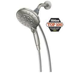 """Spot resist brushed nickel six-function 5.5"""" diameter spray head handshower showerhead"""