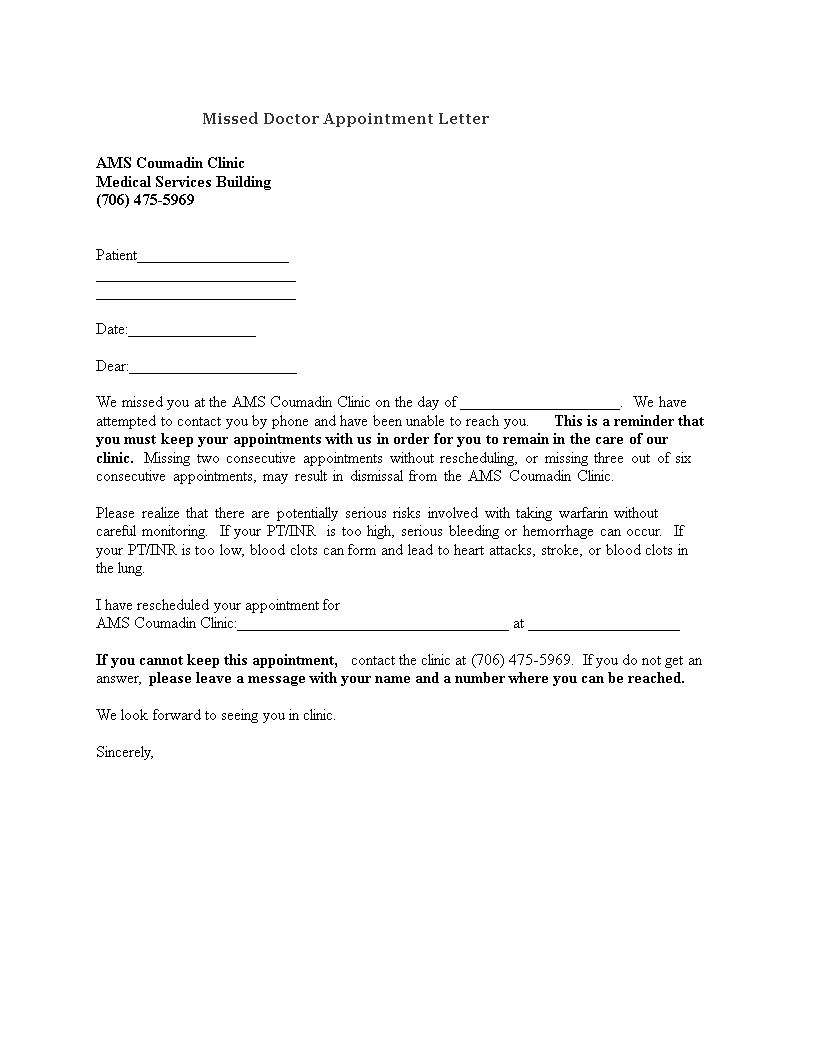 Missed Doctor Appointment Letter How To Create A Missed Doctor Appointment Letter Download This Missed D Lettering Letter Templates Business Letter Template