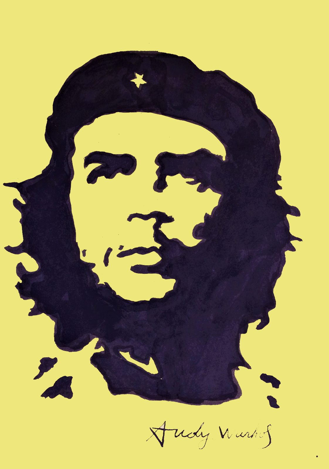 Andy Warhol Hand Drawn Signed Watercolor Che Guevara Watercolor Drawing Andy Warhol How To Draw Hands