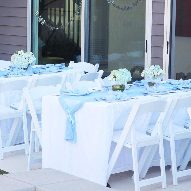 Diy Cheesecloth Table Runners Baby Shower Table Decorations Boy