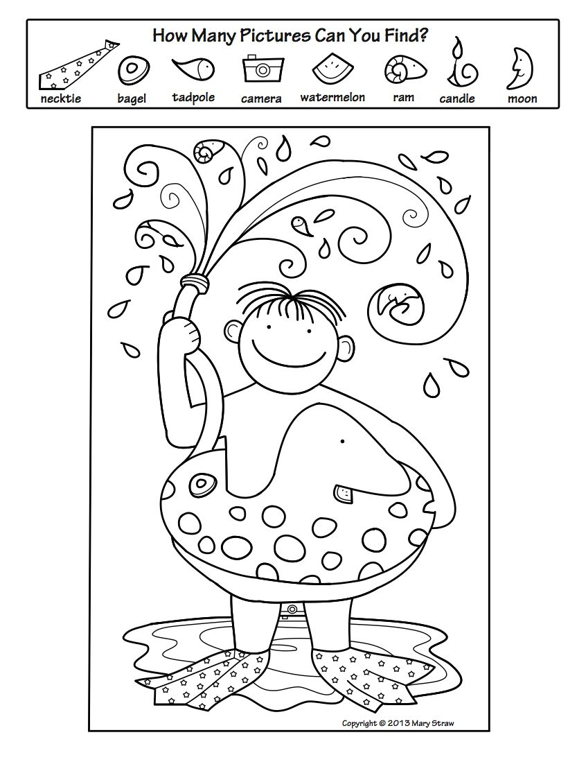 Summer Activity Coloring Pages Mary Straw Activity Coloring Pages
