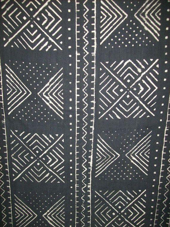 Mudcloth Black White African Mud Cloth Fabric Handmade