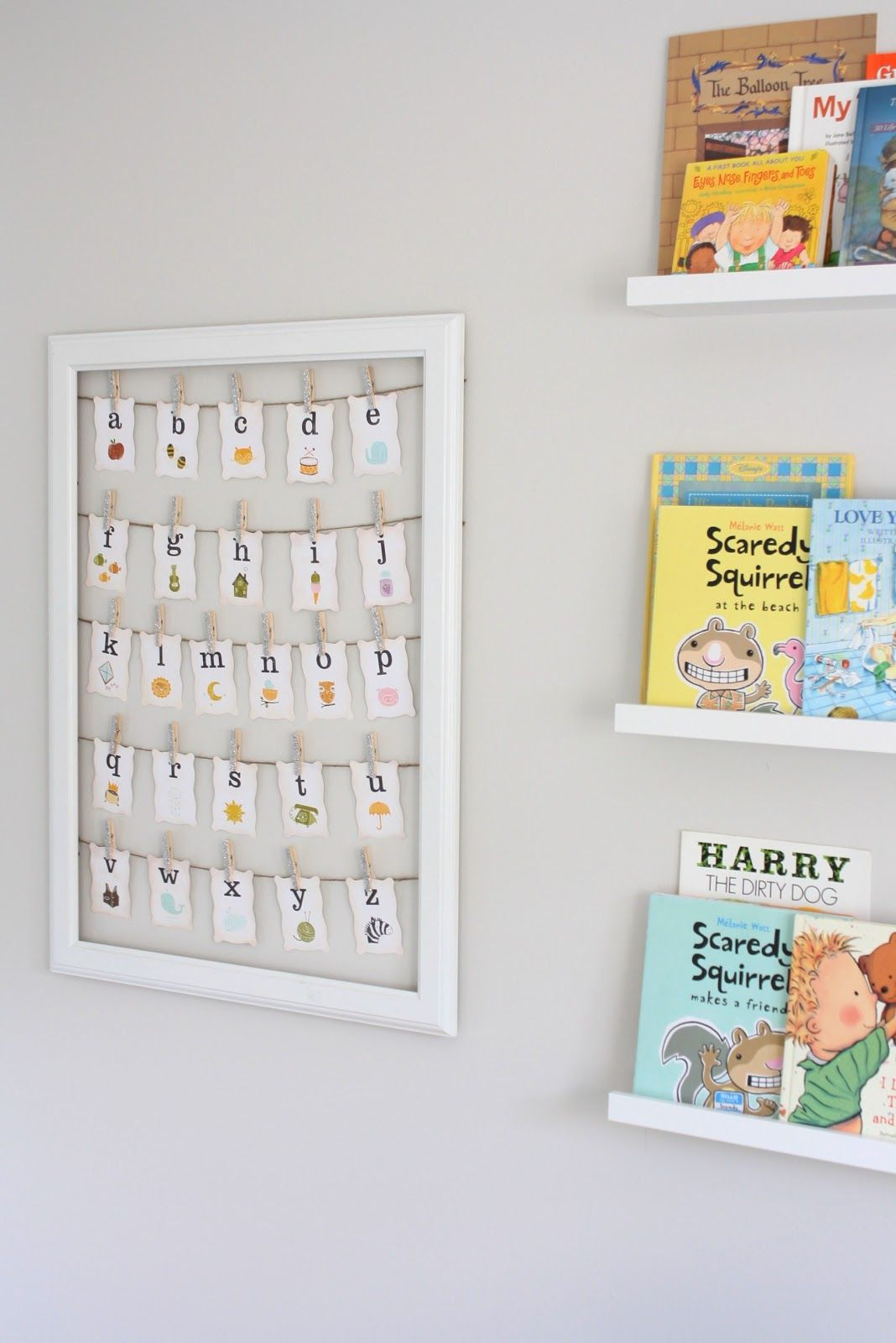 Cute Ideas For Nursery Walls Love The Book Display And Framed Alphabet Letters