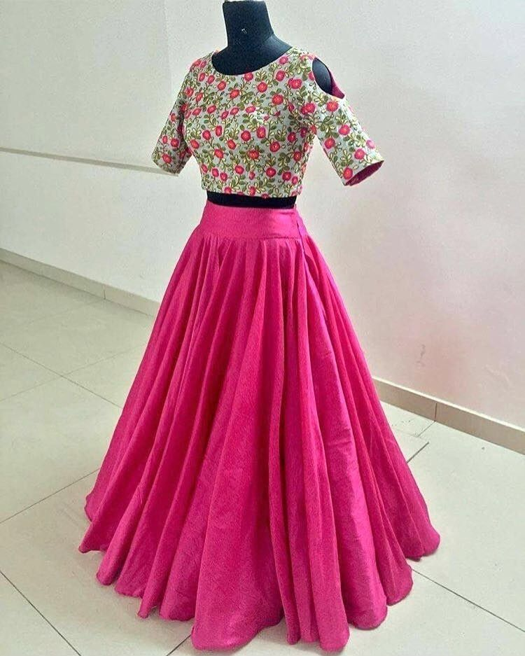c3d39ec4b65 Pink floral crop top skirt Fabric : Raw silk Blouse : Raw silk with thread  embroidery
