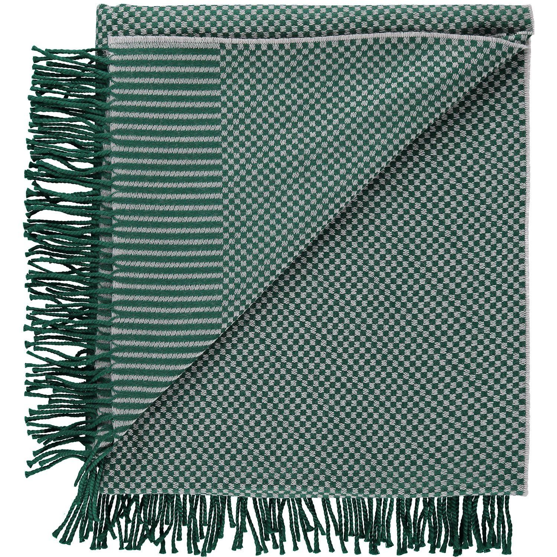 """Zoeppritz"" Dark Green Checkerboard Woollen Throw - TK Maxx"