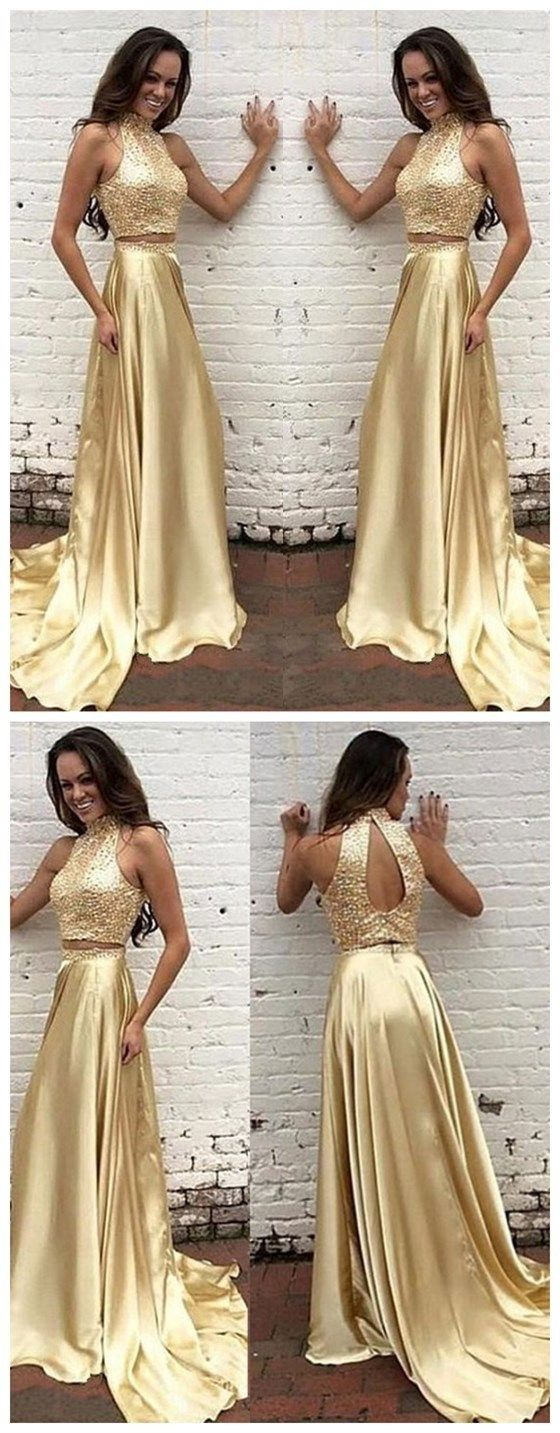 Two pieces prom dresshigh neck prom dressgold prom dress new