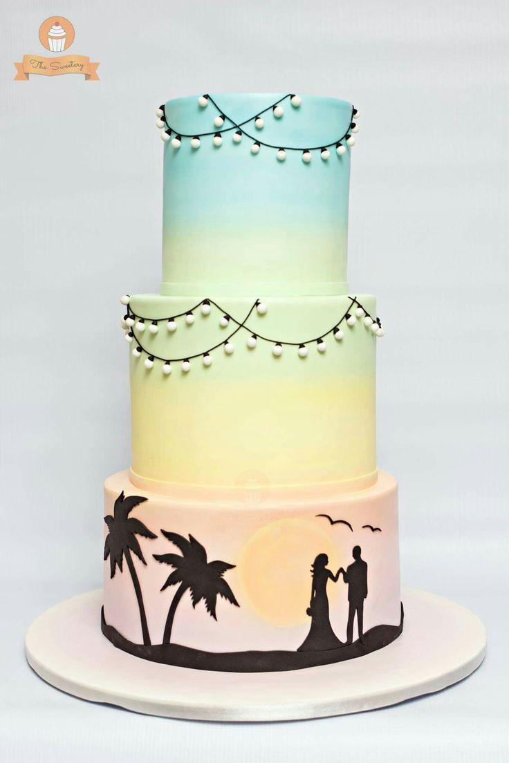 Pastel coloured sunset beach wedding cake … | Pinteres…