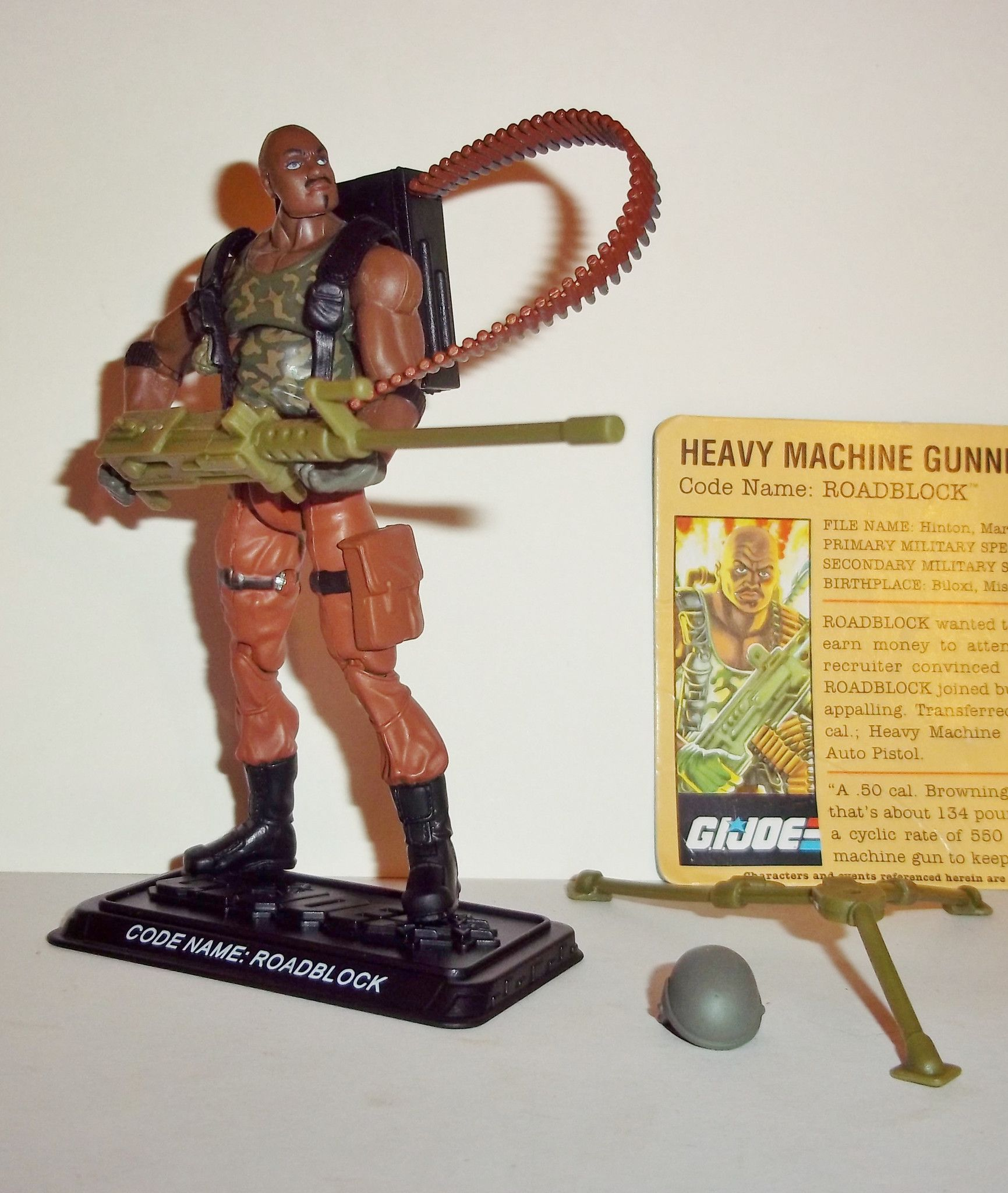 25TH Gi Joe Figure Heavy Machine Gunner Roadblock 100/% complet avec file card