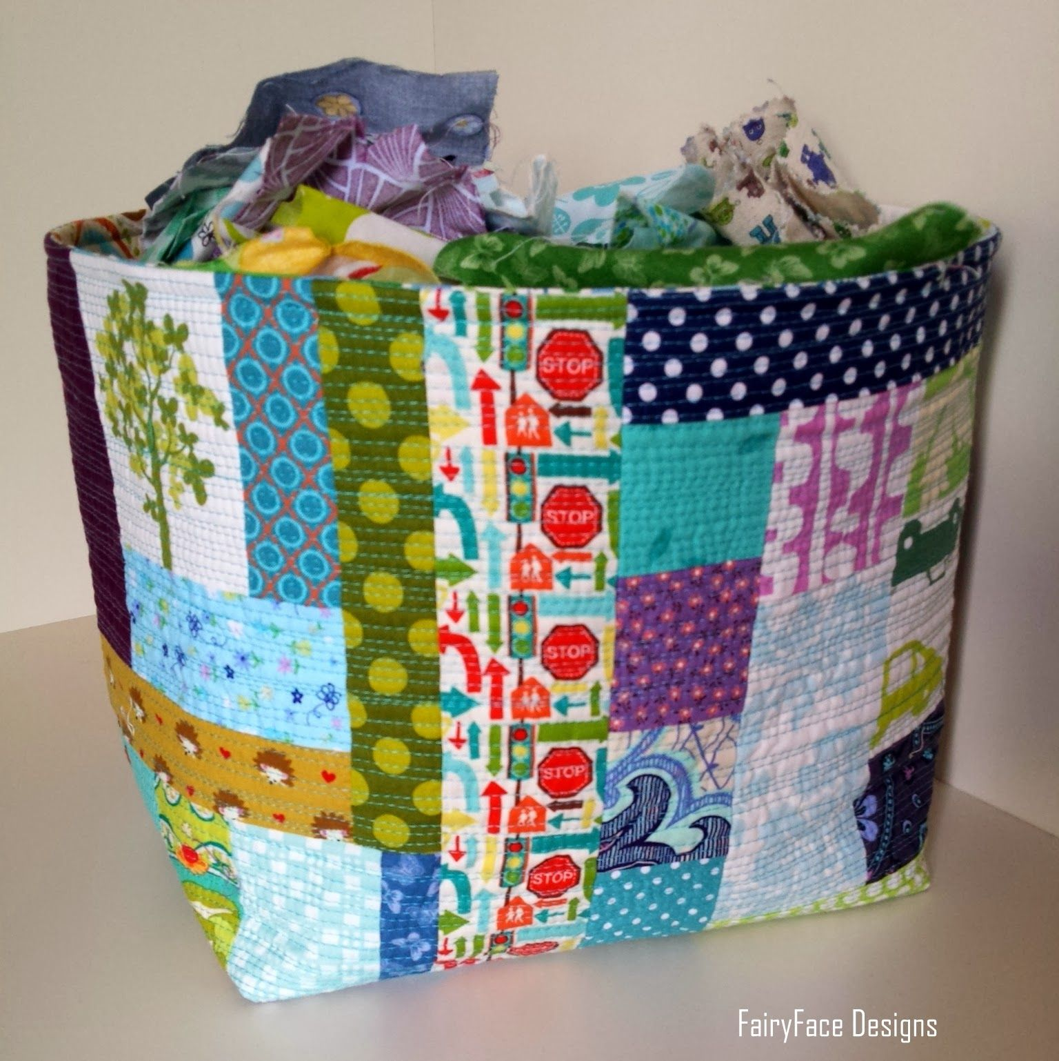 FairyFace Designs: Great big scrappy fabric basket
