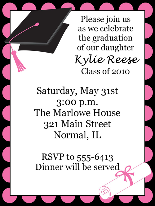 Polka Dot Pink Graduation Invitations Bridgette Needs Pinterest