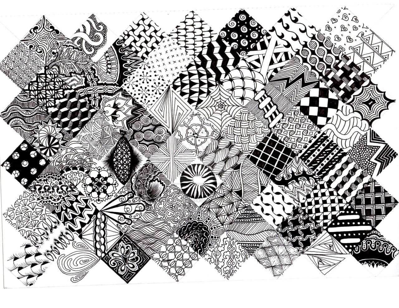Zentangle pattern quilt 2 by thelonelymaiden on for Art drawing ideas for adults