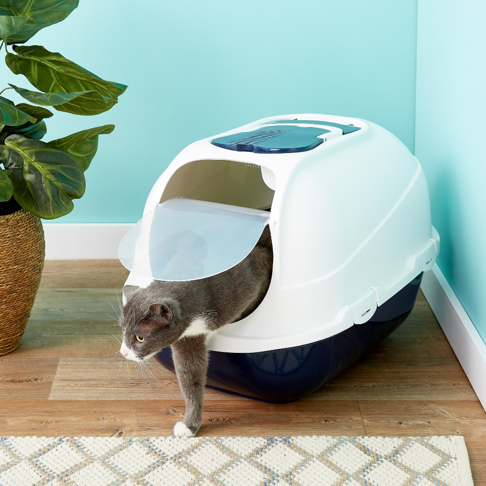 Frisco Deluxe Hooded Cat Litter Box With Scoop Navy Extra Large 25 In Chewy Com Cat Litter Box Cat Litter Litter Box