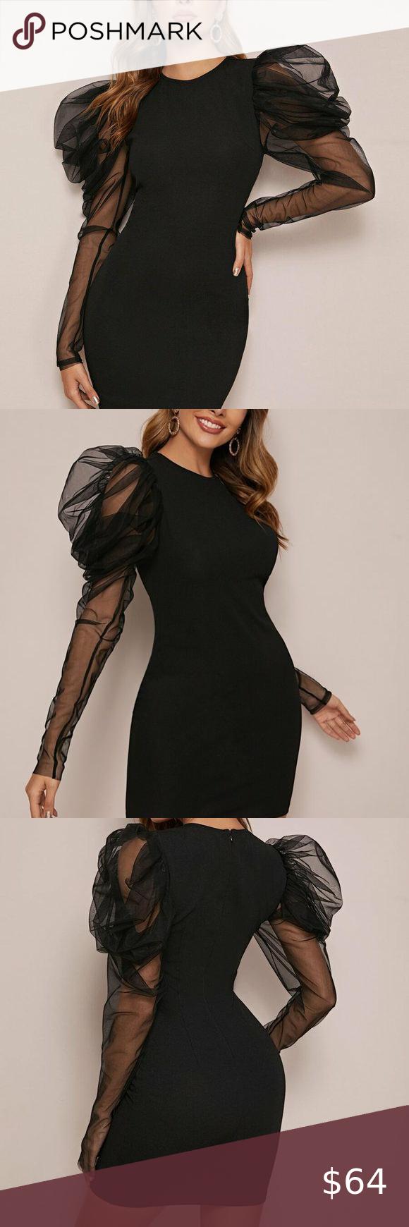 Black Mesh Sleeve Bodycon Mini Dress In 2020 Bodycon Dress With Sleeves Bodycon Mini Dress Necklines For Dresses [ 1740 x 580 Pixel ]