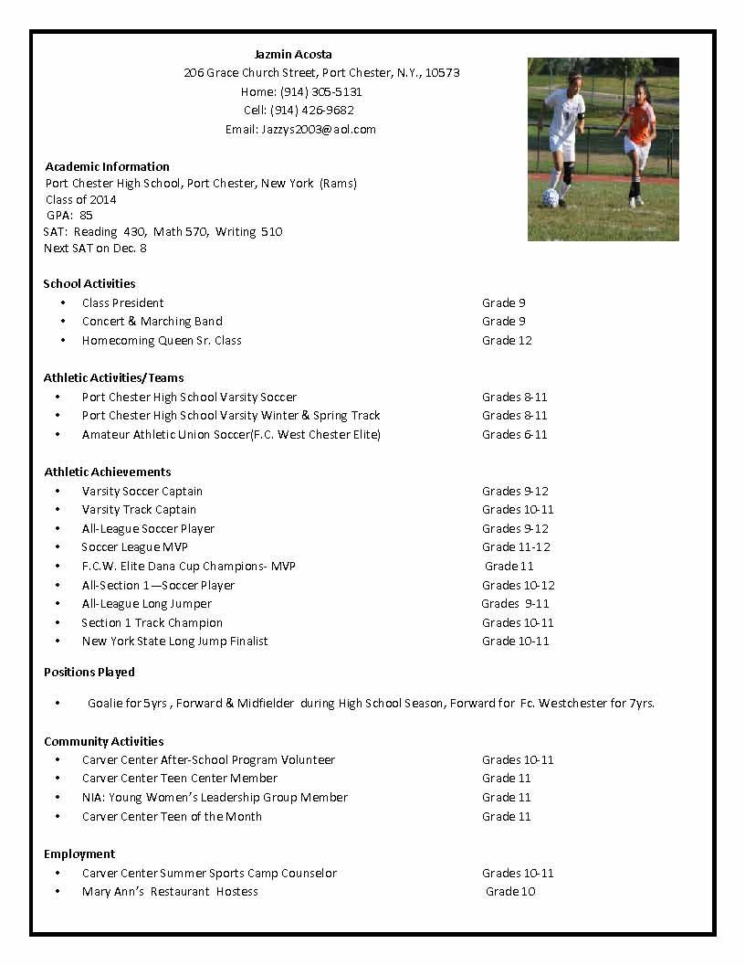 soccer recruiting resume