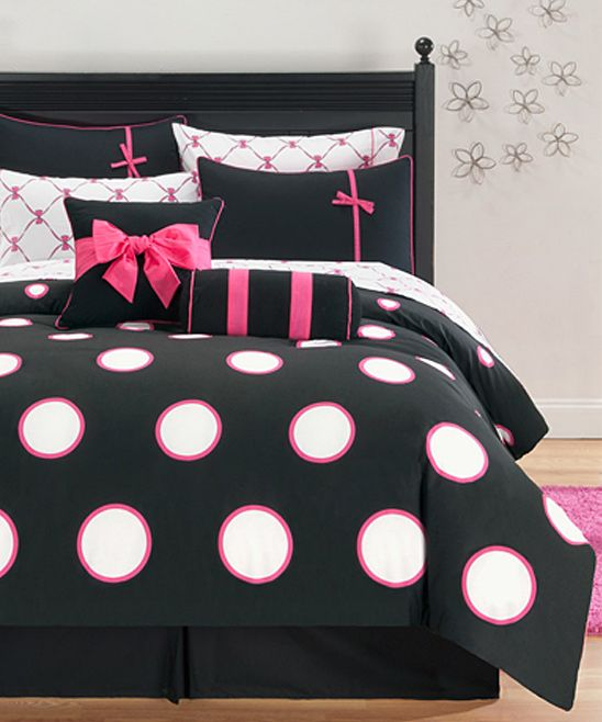 Pink Black Sophie Comforter Set Love This I Know It S Too Girly For The Husband Though Comforter Sets Full Comforter Sets Girl Beds
