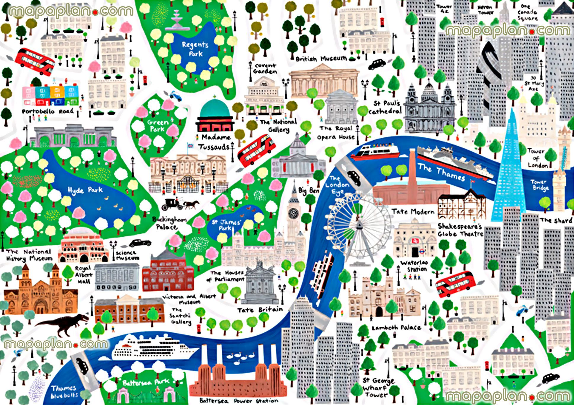 beautiful colorful london children englishs london top tourist attractions map