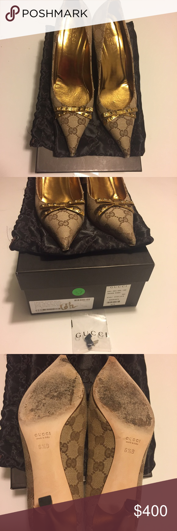 Gucci Scar Tess S Cuoio pumps Gucci Scar Tess Cuoio in original GG monogram fabric and gold napa leather wrapped heels and bow. Excellent preowned condition, comes with extra heel tap from Gucci, original dust bag and box. Gucci Shoes Heels