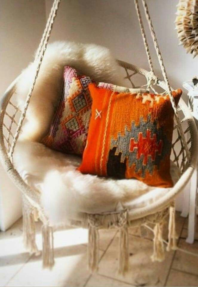 White Bohemian Hanging Chair Kitchen Cushions With Ties Target Pin By Shy Girl On Decor Swinging House Home Interior Modern Chairs Macrame