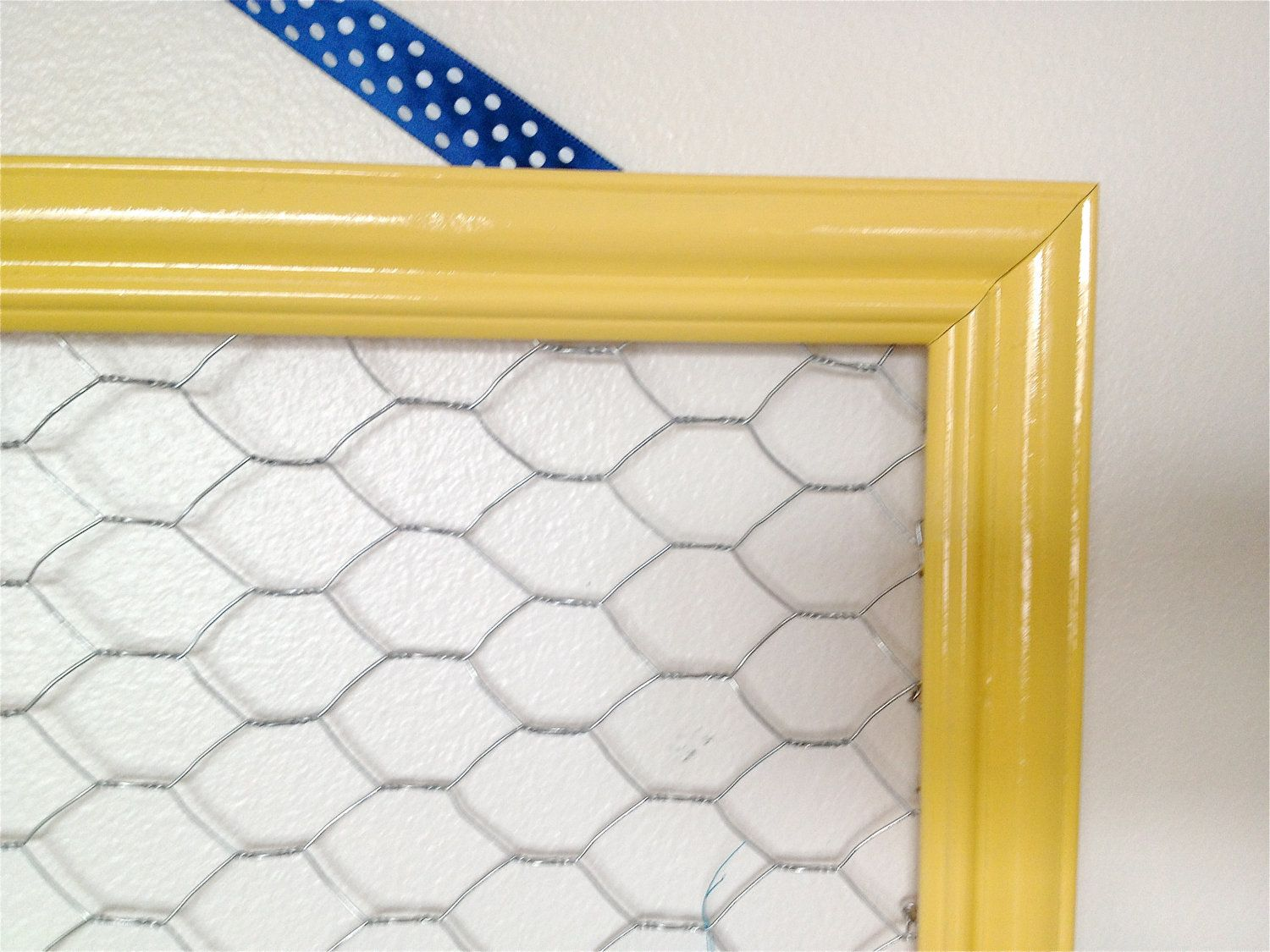 Bright Yellow Chicken Wire Frame Hair Bow and Clip Organizer Framed ...