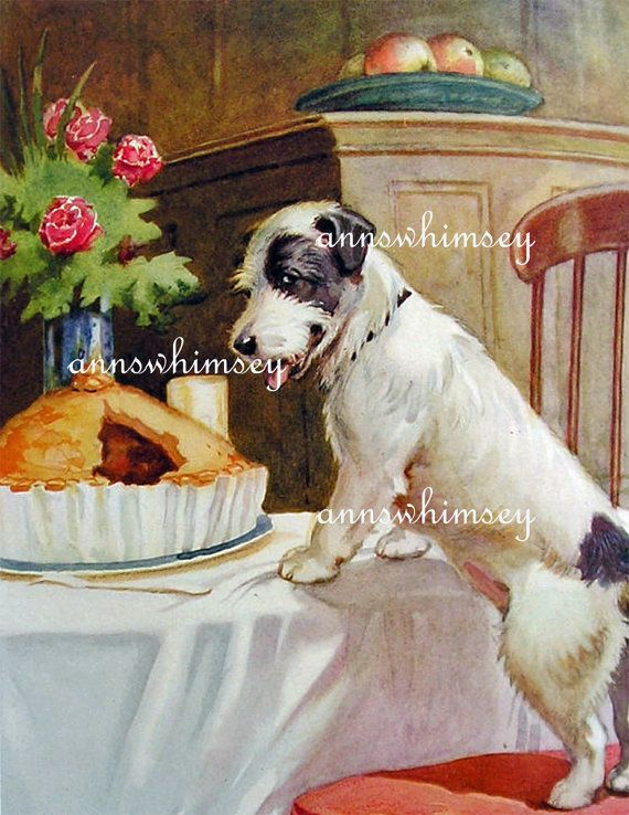 Art Print Dog At Table The Cat Did It Dog Eats By Annswhimsey Art Prints Art Vintage Dog