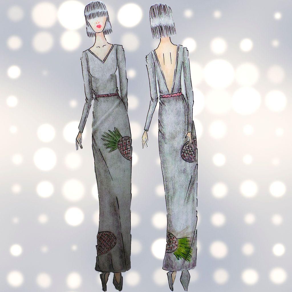 Dibujo Tunic Dress Piñas Largo 80% seda - 20% algodón | Dibujos Silk ...