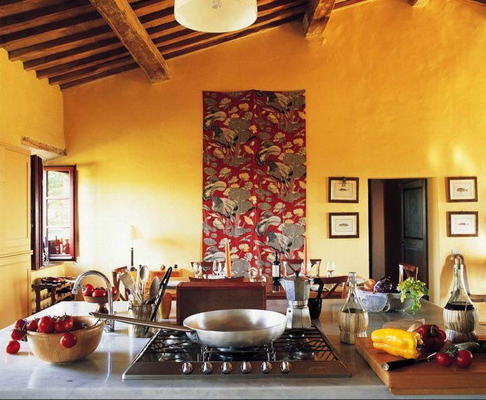 Tuscan Kitchen With Yellow Walls