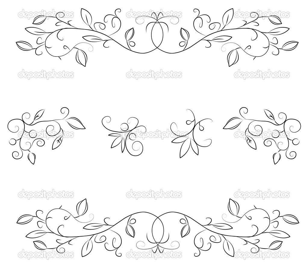 Line Art Flower Border : Flower floral border pattern — stock vector