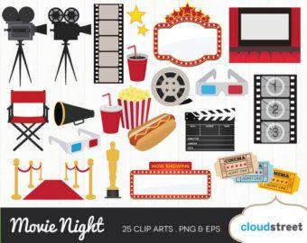 Movie Night Clipart Movie Clip Art Cinema By Winchesterlambourne Fiesta Tematica Hollywood Garabatos Imprimir Sobres