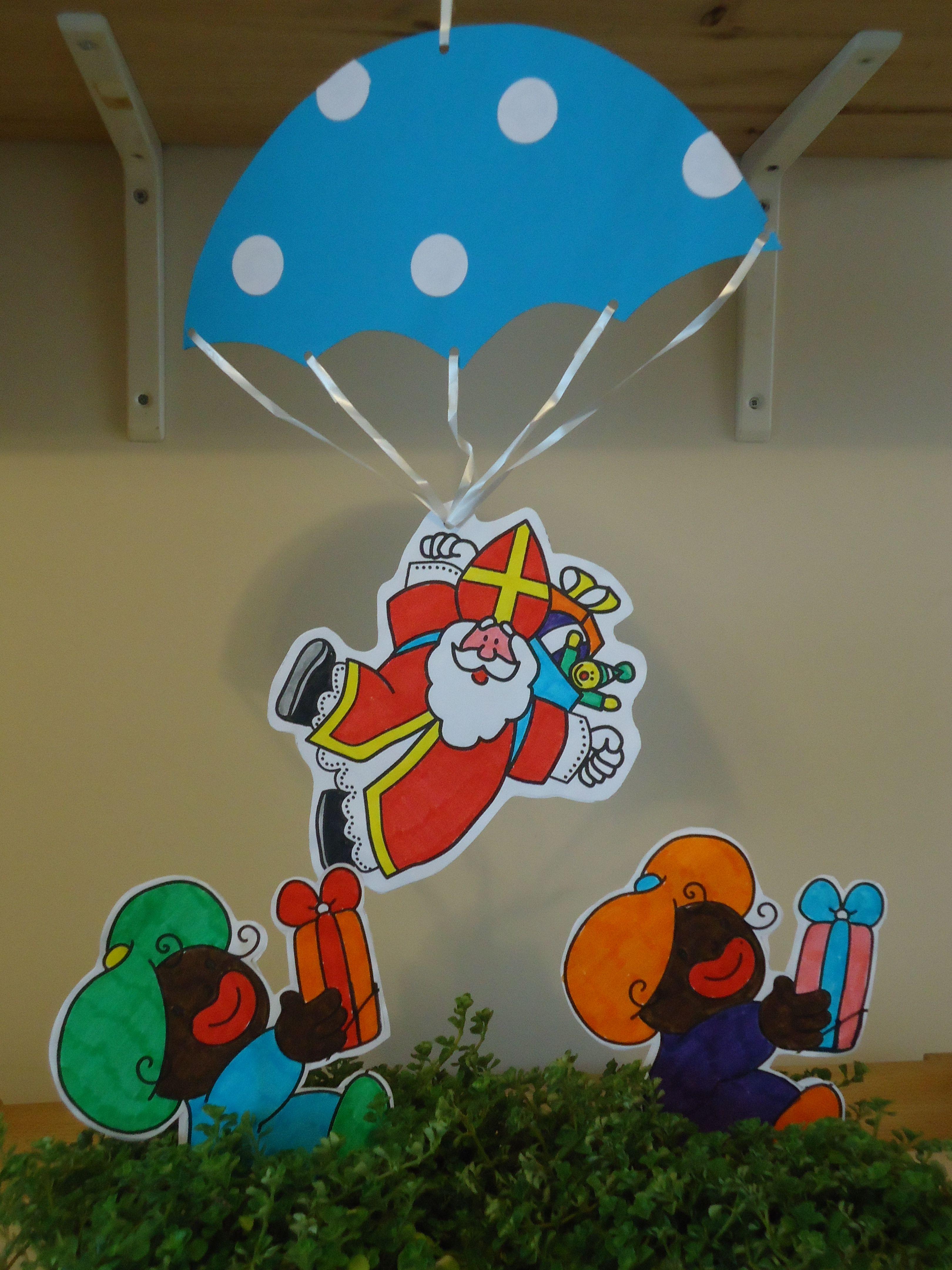 sint aan parachute leuke kleurplaat opzoek evt