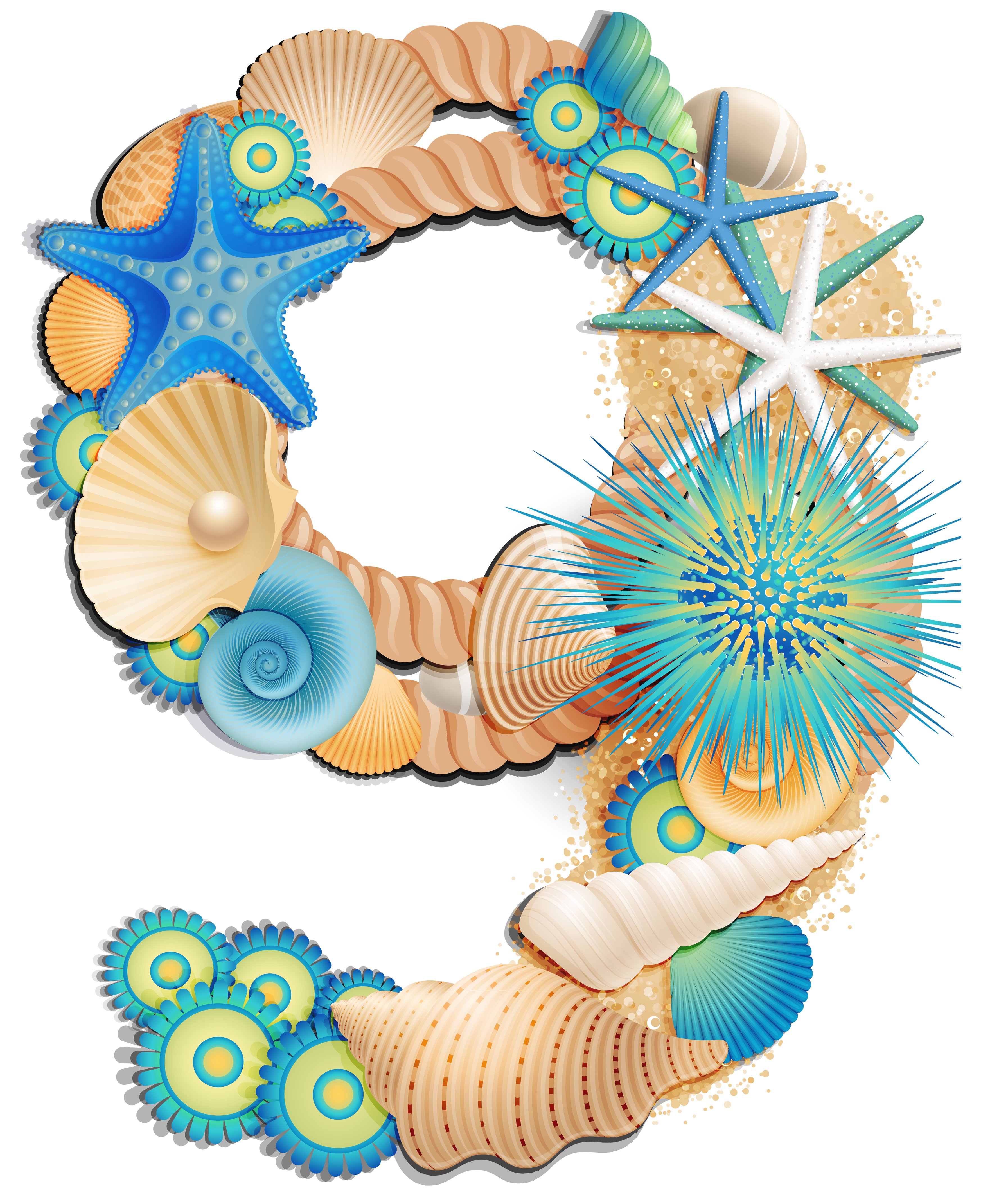 Transparent Number Nine Sea Style Clipart Picture