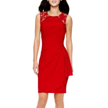 eac21bf2ed Stenay Sleeveless Lace-Shoulder Sheath Dress found at  JCPenney ...