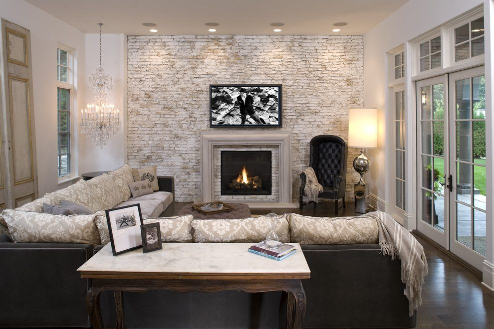 Faux Paint Brick Fireplace Family Room Mediterranean With Brick