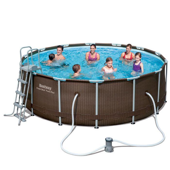 56647 56483 Bestway 427 122cm Power Steel Rattan Frame Pool Set