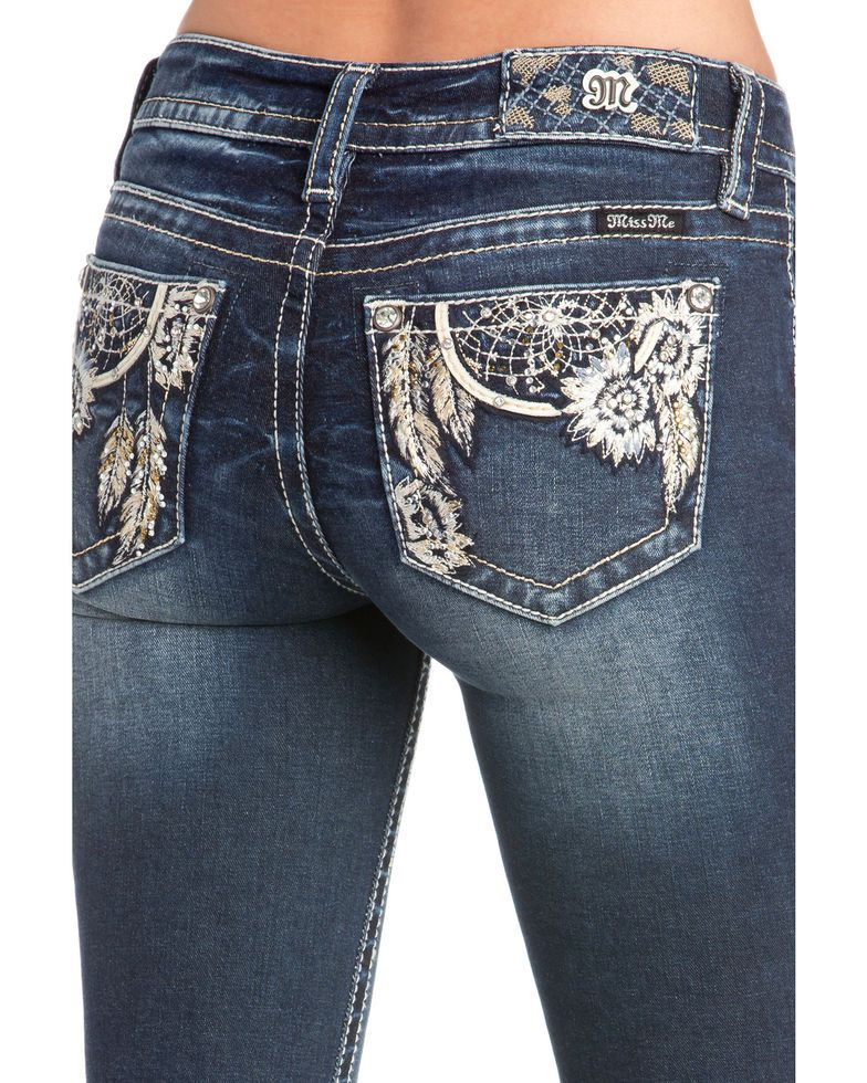 c8e26dc20b4 Miss Me Women's Floral Dreamcatcher Embroidered Boot Cut Jeans in ...