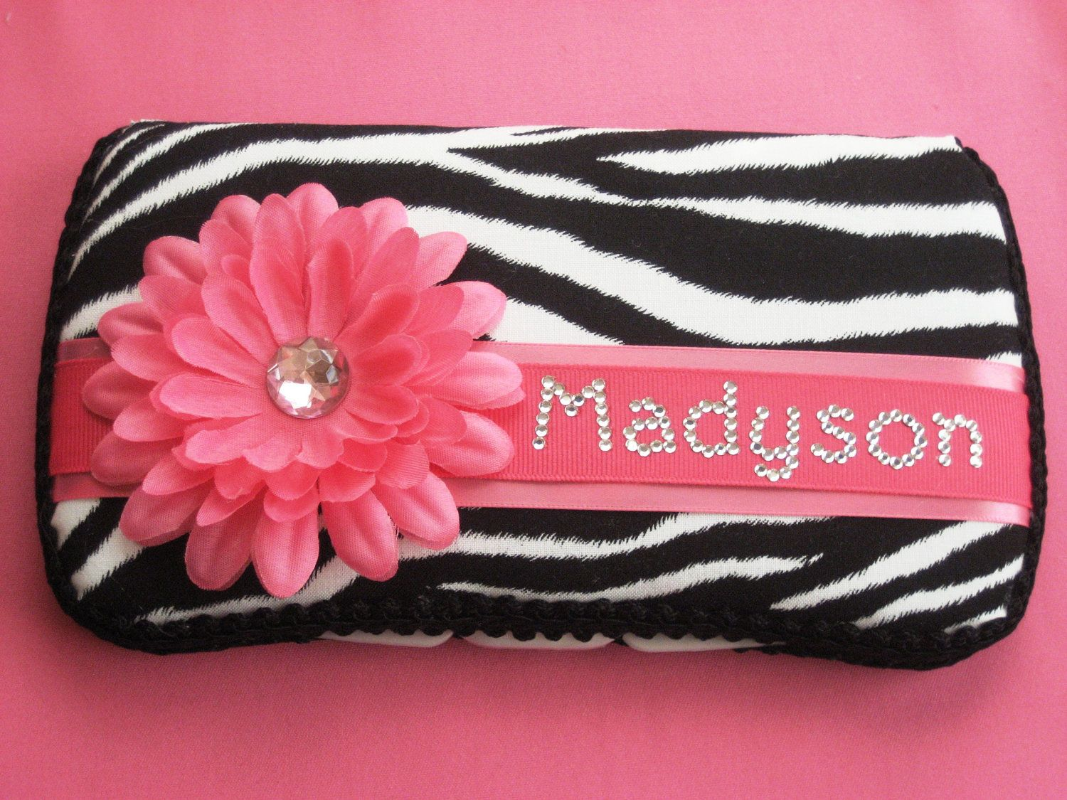 Zebra Print with Hot Pink Flower Baby Wipes Case Wipey Holder with Baby's Name RHINESTONES. $23.95, via Etsy.