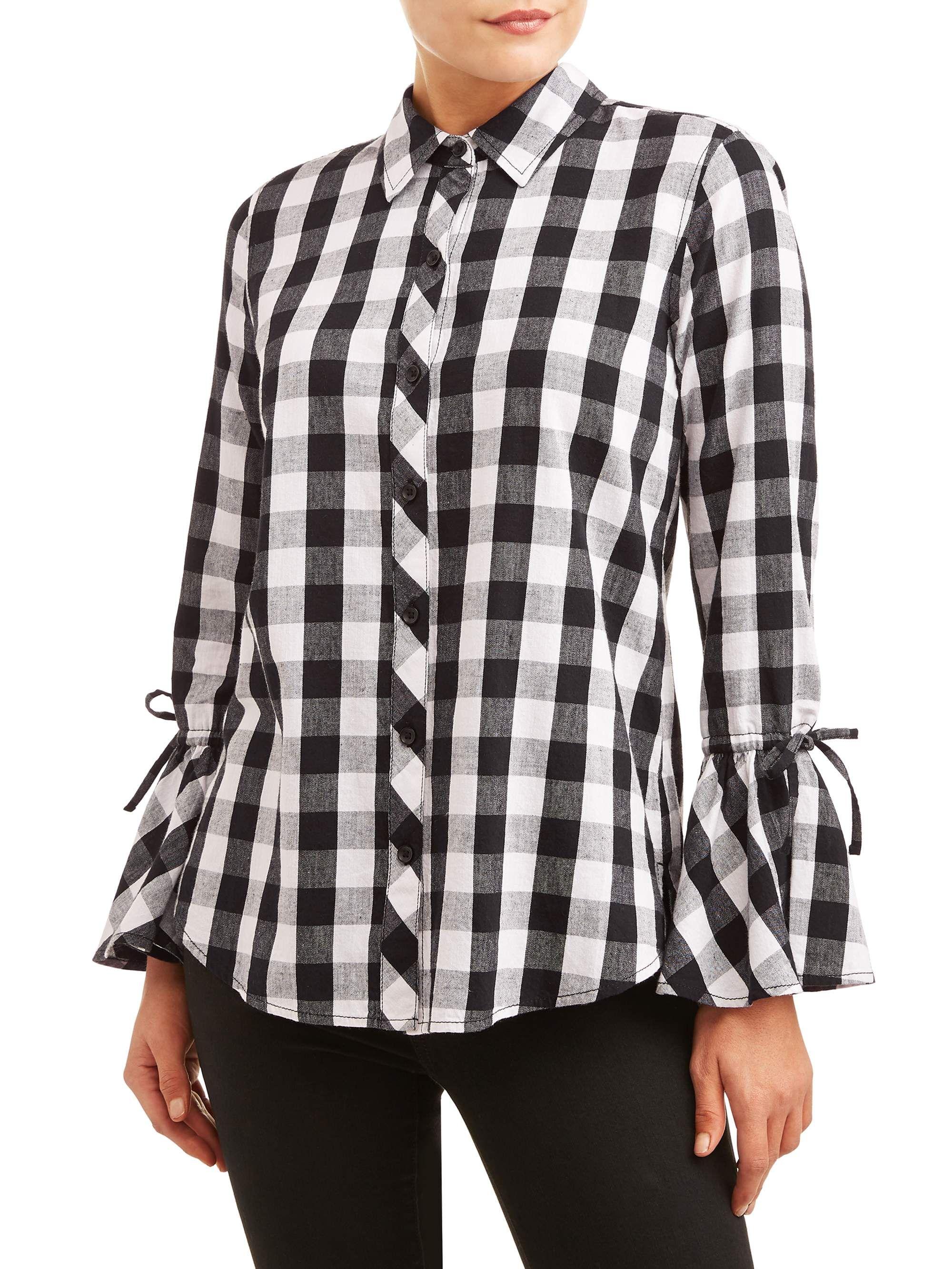 Time And Tru Women S Woven Ruffle Sleeve Shirt Walmart Com Ruffle Sleeves Shirt Shirt Sleeves Women Tunic Tops [ 2667 x 2000 Pixel ]
