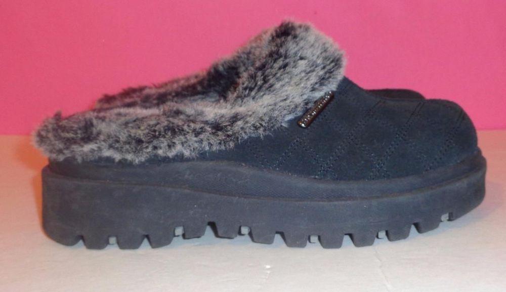 SKETCHERS 6 SHOES Clogs MULES Fur Lined BLACK Suede Bootie Women's SLIP-ON Slide #SKECHERS #Clogs #Casual