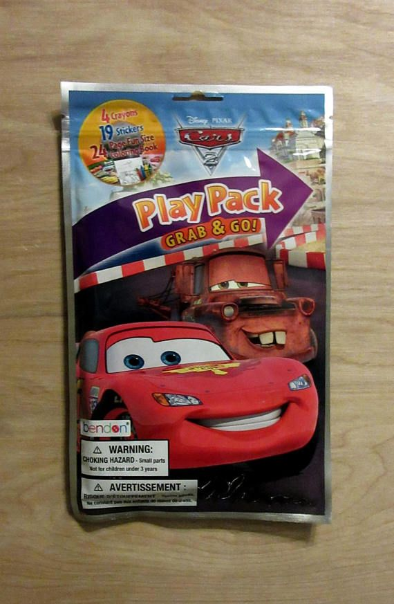 Disney Cars 2 Play Pack Grab Go Crayons Stickers Coloring BookLightning McQueenRamoneSargeSallyFlo